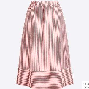 J.Crew Striped cotton-linen midi skirt
